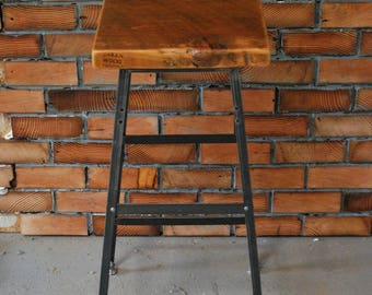 """2 Reclaimed Wood and Steel Industrial Shop Stools. Made in Chicago. Qty (2) 25"""" counter height-choose finish - QUICK SHIPPING"""