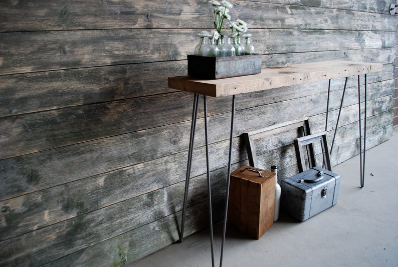 size Your choice of wood thickness height and finish. Hairpin Console Table made of reclaimed wood and mid century modern hairpin legs