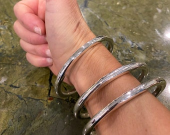 3Stack Plain Bangles Xtra-Heavy Sterling Silver  Heirloom 173a unisex