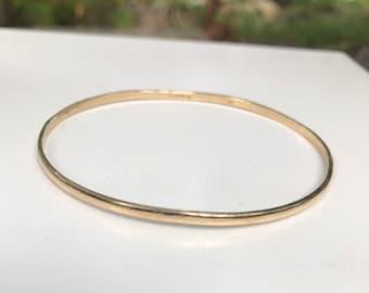 14 K Solid Gold Classic Bangle Stacking Bracelet Tiffany Plain Bracelet