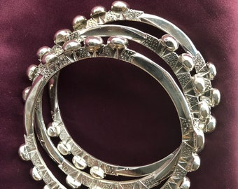 Plus SizeThree stack FULANI  Bangles. FUL3aaPL  Sterling Silver Ethnic Chisseko