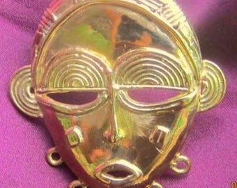 14K Solid Gold  Glory  Mask no 14 Authentic African Heirloom Chisseko