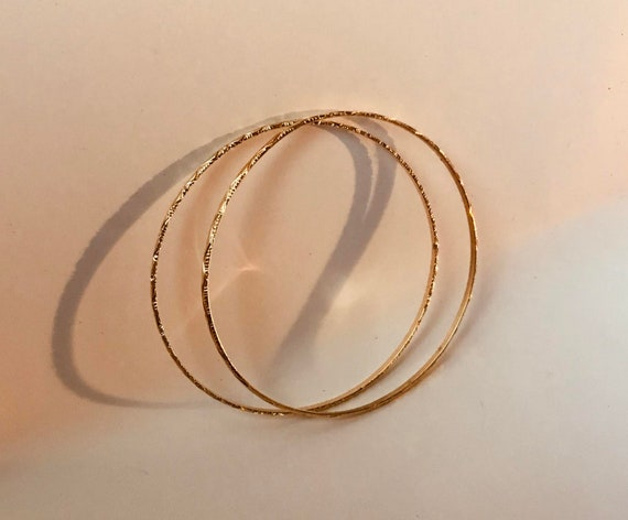 5f773b0e87494 14K Solid Gold Pair Sweetheart Bangles High End Ethnic Chic Holiday SALE!  Special order for Karen