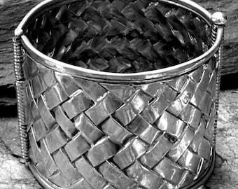 LARGE AFRICAN Bracelet no.1 Sterling Silver  Mkeka design Native Chisseko