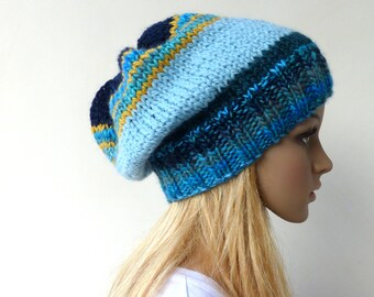 Womens Blue Slouchy hat Multi Colour Beanie hat womens blue knit hat
