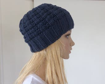 Blue Mens beanie womens knit hat Merino winter hat