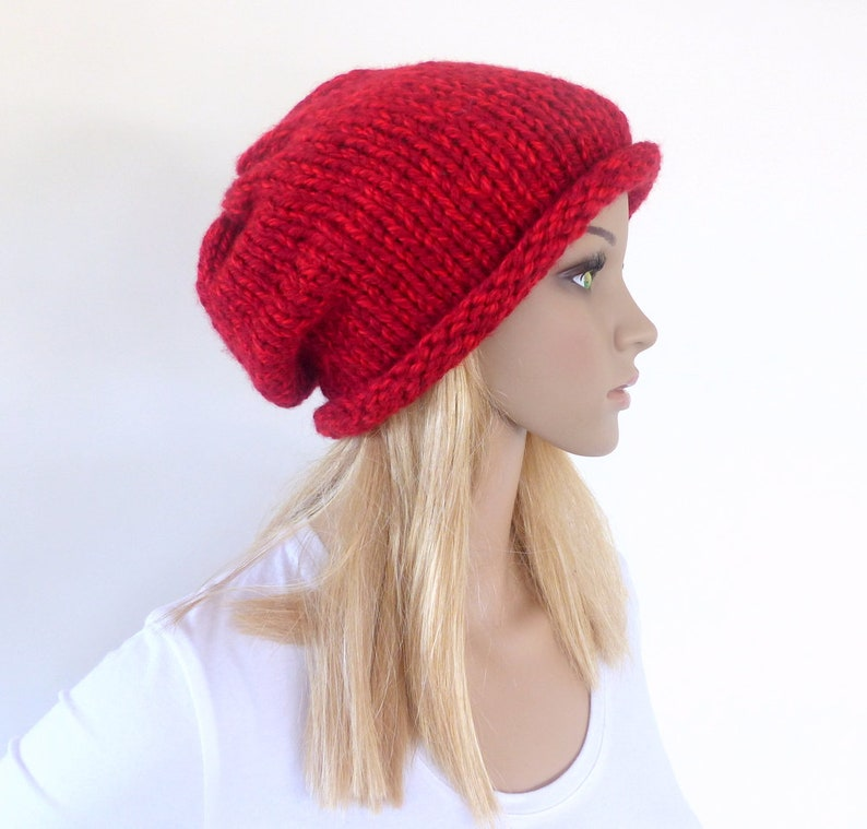 52265d3e469 Red slouchy hat Red beanie hat Chunky Knit hat Womens women