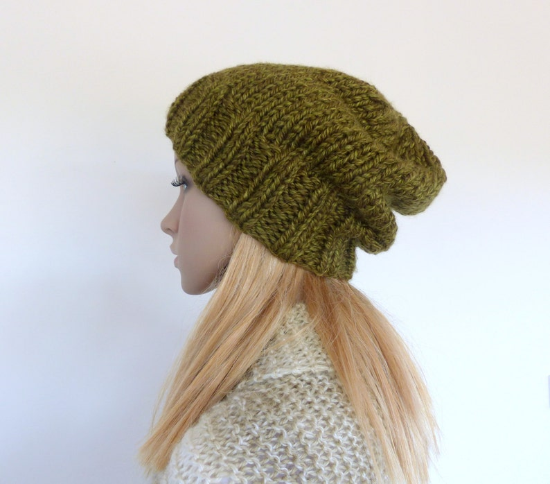 ab0aa80cbd868 Green Chunky Knit beanie Womens slouchy hat Olive Green knit