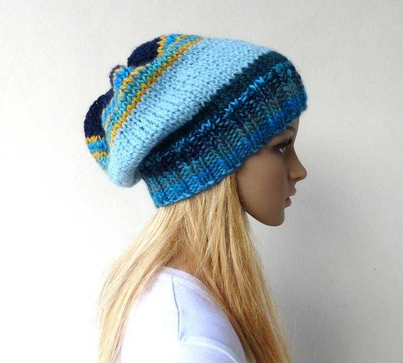 9dc66dcada9 Womens Blue Slouchy hat Multi Colour Beanie hat womens blue