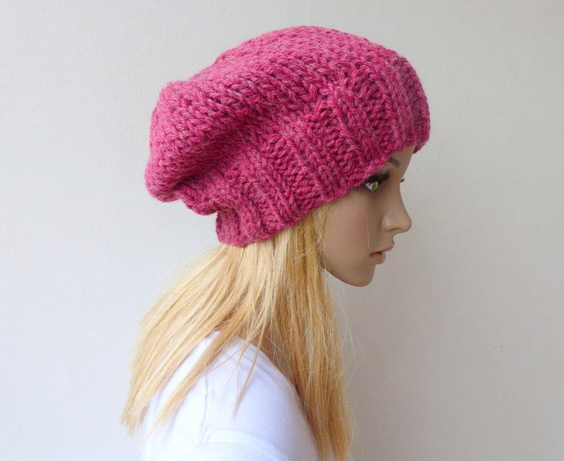 eaeb6fdd388 Pink Slouchy beanie Womens pink knit hat Chunky Knit slouch hat in wool  alpaca winter hat