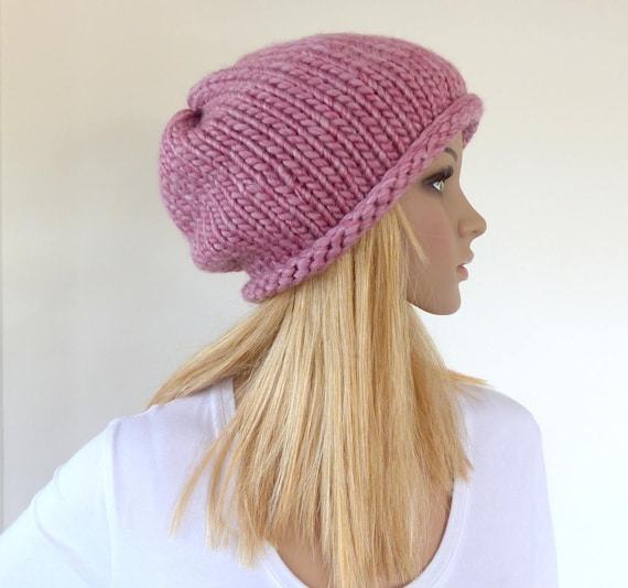 aad54129a1d Pink slouchy hat Pink beanie hat Chunky Knit hat Womens