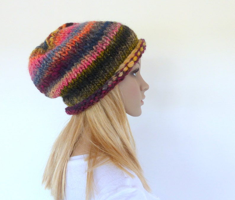 989c89d29a1 Chunky knit hat Slouchy Beanie Earthy Knit Hat Knit slouch