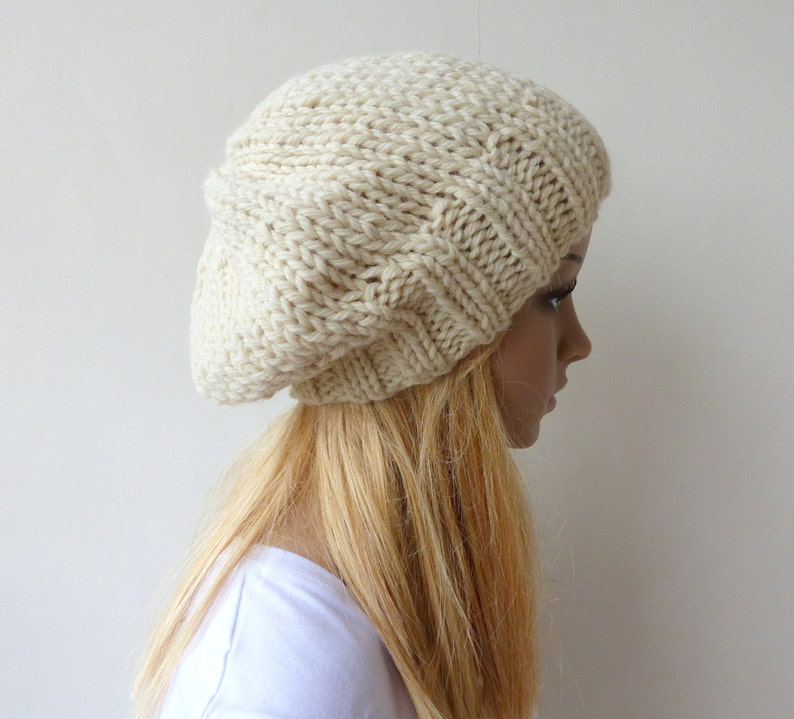 8a0449672dd Cream Knit Hat Winter white Slouchy Hat Womens Chunky Knit
