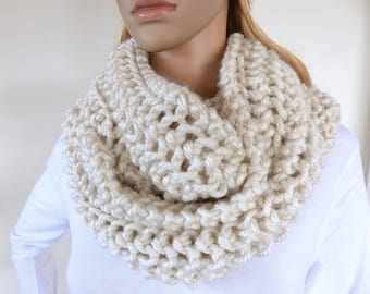 Winter White Infinity scarf Cream Cowl Chunky Scarf Cream Womens Winter Accessory