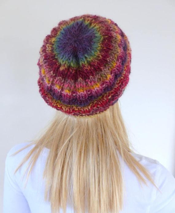 Colourful beanie Colorful Knit Hat purple Womens winter hat  31d802f9d09
