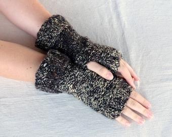 Fingerless Gloves Brown Knit Gloves FIngerless Mittens Brown Hand Warmers Mens fingerless gloves