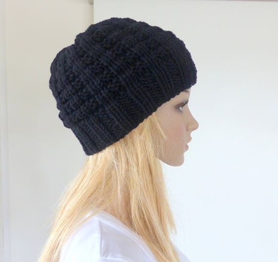 a04850827 Mens Black Beanie Womens Knit hat Luxury Merino beanie