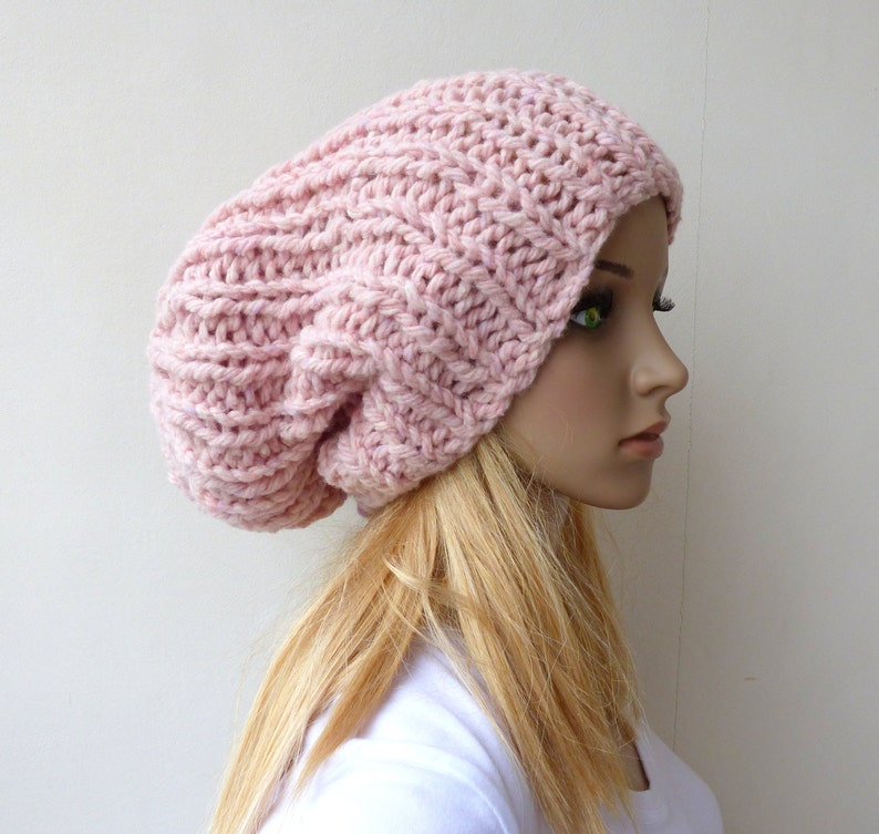 ef89ee11 Pink Knit hat Chunky Beanie Hat Slouchy Beanie Pink Slouch hat