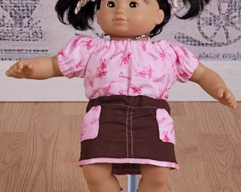"""Doll outfit skirt pattern - Mini Promenade Girl - 15"""" AND 18"""" doll sizes included"""