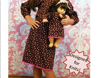 "Doll knit pajama pattern - Mini Sleeping Bunnies PDF pattern - 15"" and 18"" doll size"