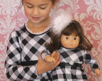 """Doll knit twirl dress pattern - Mini Winter Twirl PDF pattern - 15"""" and 18"""" doll size"""