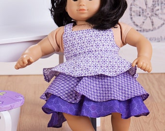 """Doll dress tiered flounce pattern - Mini Pixie Girl- 15"""" AND 18"""" doll sizes included"""