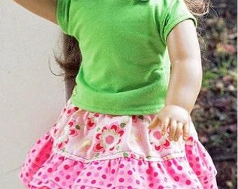"""Ellie Inspired Doll Skirt - Mini School Days Skirt PDF pattern - 15"""" and 18"""" doll"""