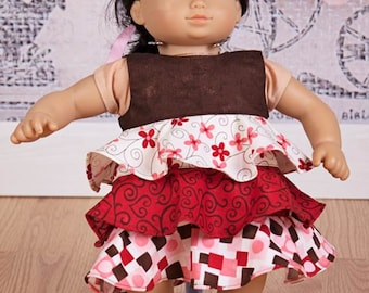 """Doll tiered flounce dress pattern - Mini Ayano - 15"""" AND 18"""" doll sizes included"""