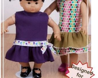 "Doll knit dress pattern - Mini Sandy Girl PDF pattern - 15"" and 18"" doll size"