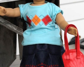 """Doll pleated skirt pattern - Mini Jazzy Girl PDF pattern - 15"""" and 18"""" doll size"""