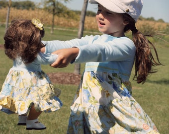 """Doll knit twirl tiered dress pattern - Mini Hopscotch - 15"""" AND 18"""" doll sizes included"""