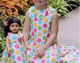 "Doll twirl dress pattern - Mini Twirl Girl PDF pattern - 15"" and 18"" doll size"