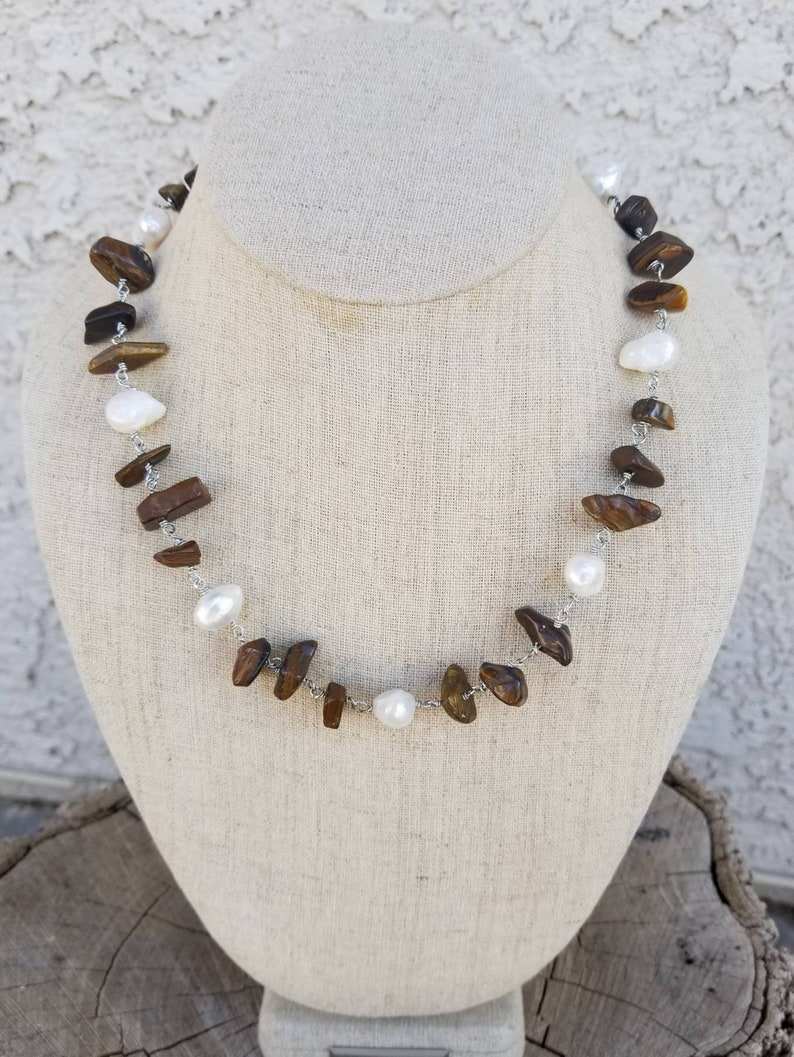 Large Tigers Eye Necklace Genuine Gemstone Jewelry Large Pearls Necklace Hippie Necklace Sterling Silver Jewelry Wire Wrapped Gemstones