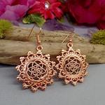 Seed of Life Earrings - Sacred Geometry Earrings - Mandala Earrings - Flower of Life - Rose Gold Earrings - Copper Earrings