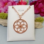 Seed of Life Necklace - Sacred Geometry Necklace - Flower Necklace - Geometric Necklace - Rose Gold Necklace - Bright Copper Necklace