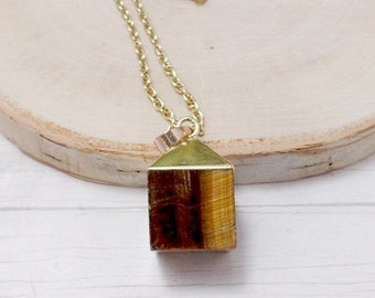 Tiger Eye Cube Necklace - Gemstone Necklace - Brown and Gold