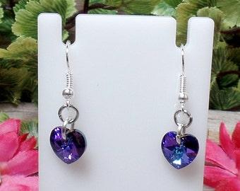 Swarovski Heart Earrings - Heliotrope - Valentine Earrings