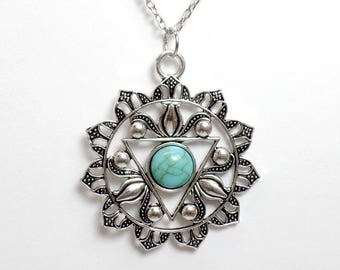 Turquoise Solar Plexus Chakra Necklace - Manipura Necklace - Chakra Symbol - Yoga Necklace - Chakra Jewelry