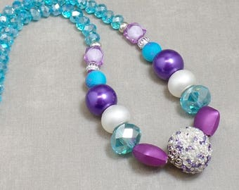 Blue And Purple Beaded Necklace - OOAK - Statement Necklace - Violet Necklace - Turquoise Necklace
