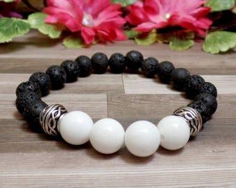 White Jade & Lava Rock Gemstone Bracelet - Diffuser Bracelet - Stretch Bracelet - Stacking Bracelet
