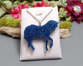 Blue Glitter Resin Unicorn Necklace - Blue Glitter Necklace - Resin Unicorn Necklace - Glitter Unicorn Necklace