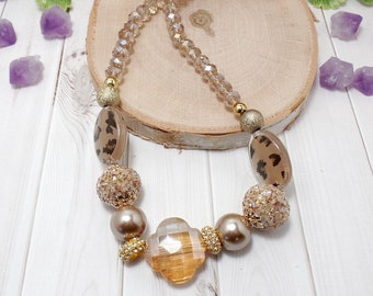 Tan Boho Chic Necklace - Tan Necklace - OOAK - Beaded Necklace - Fall Necklace