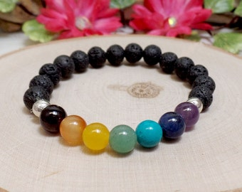 Chakra & Lava Rock Gemstone Bracelet - Stretch Bracelet - Seven Chakra Bracelet - Diffuser Bracelet