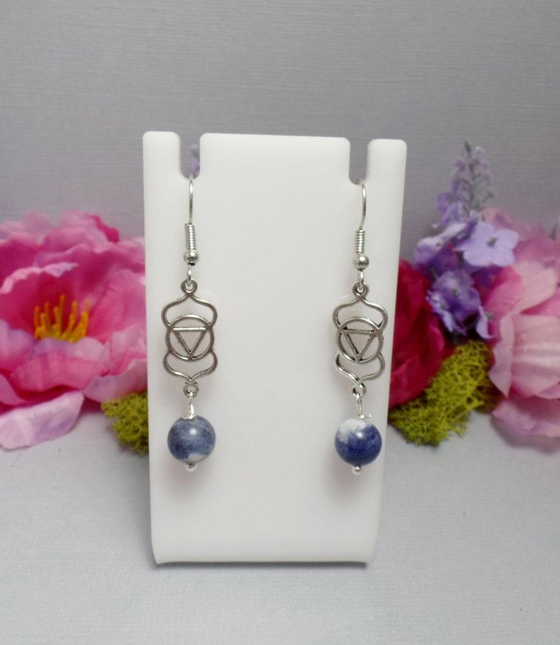 Third Eye Chakra Earrings  Sodalite Earrings  Gemstone image 0