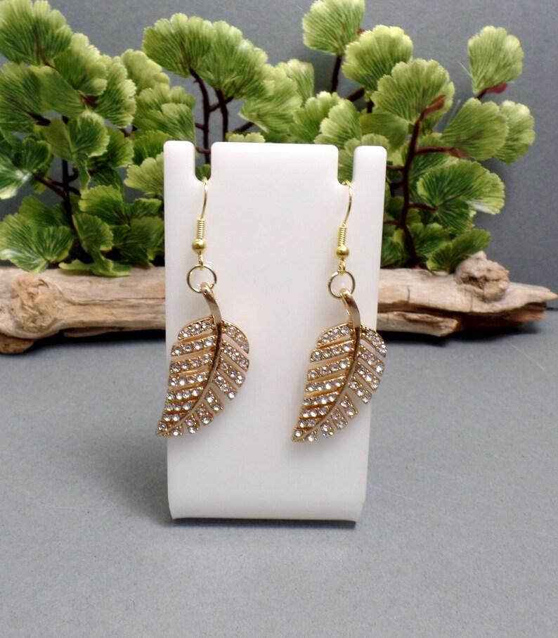 Gold Rhinestone Leaf Earrings  Bohemian Leaf Earrings  Boho image 0
