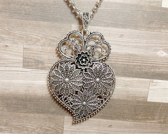 Ornate Henna Necklace - Paisley Necklace - Large Mehndi Print Necklace