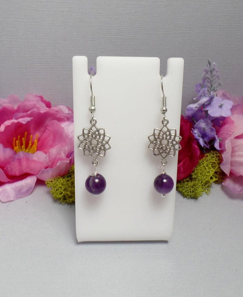 Crown Chakra Earrings  Purple Earrings  Amethyst Earrings  image 0