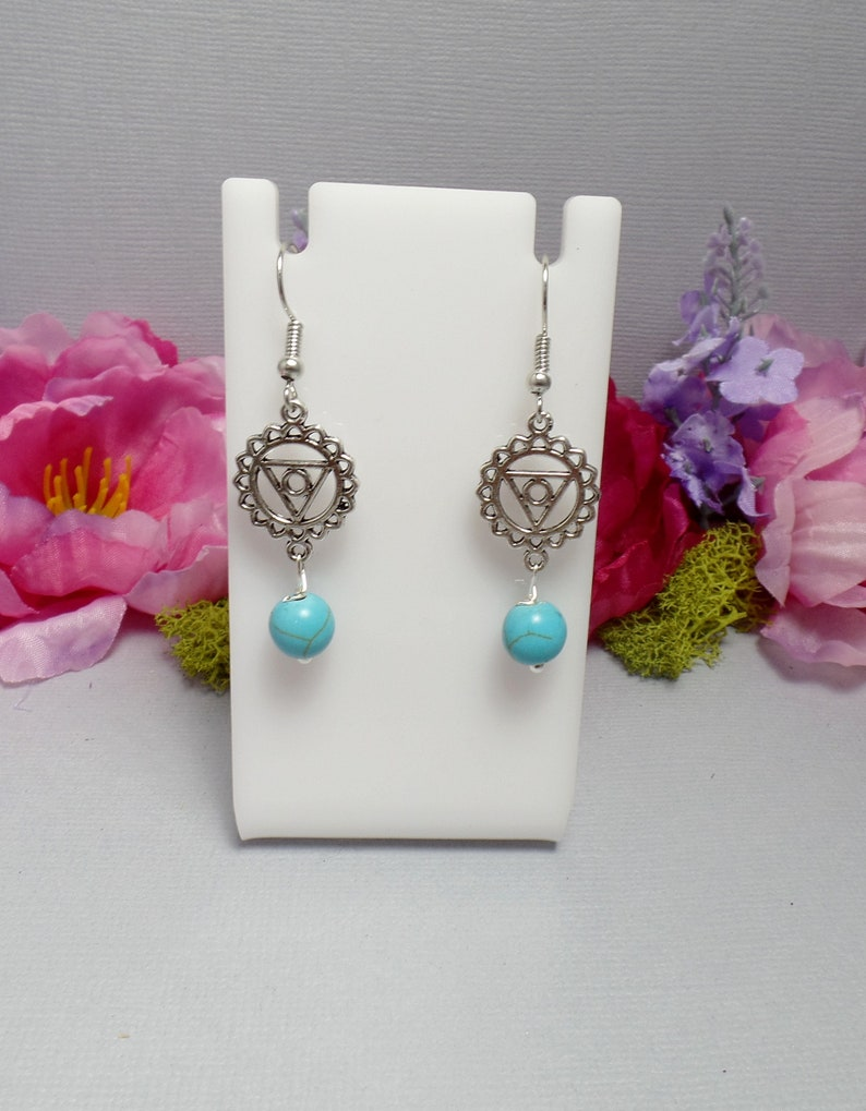 Throat Chakra Earrings  Turquoise Earrings  Blue  Gemstone image 0