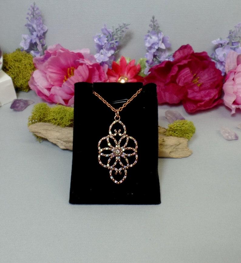 Copper & Rhinestone Flower Necklace  AB Rhinestone Necklace  image 0