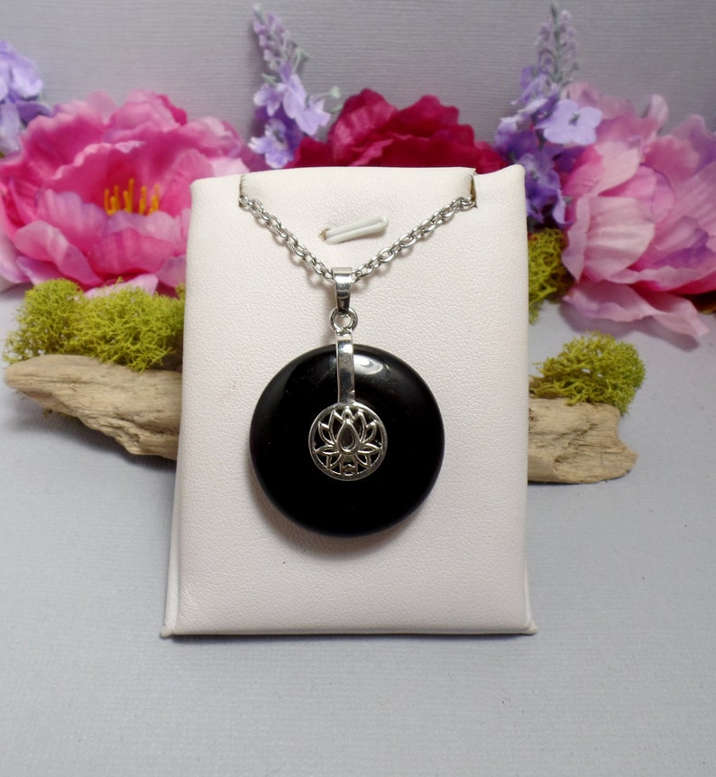 Black Agate Lotus Necklace  Agate Donut  Gemstone Necklace  image 0